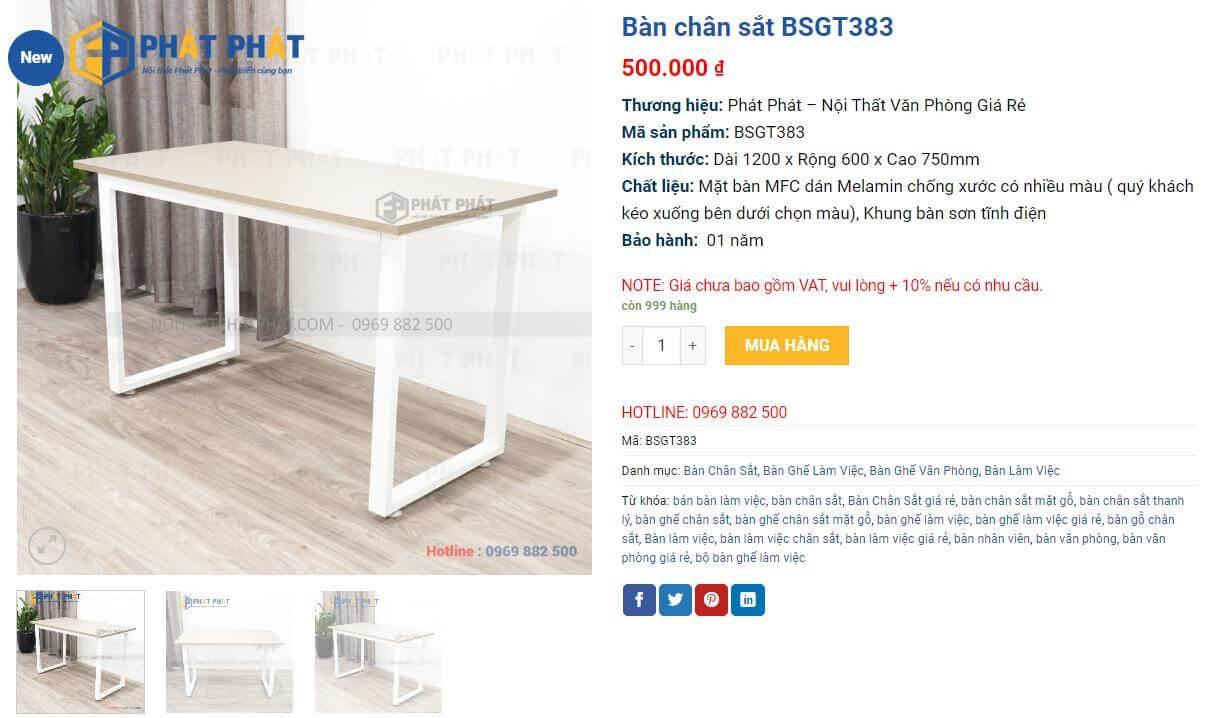 Mua bàn làm việc chân sắt mặt gỗ hiện đại, bền đẹp cho văn phòng -1