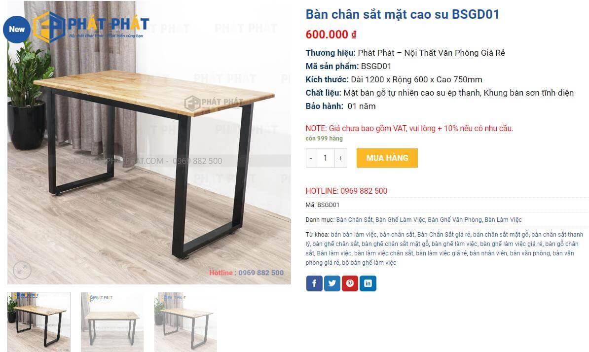 Mua bàn làm việc chân sắt mặt gỗ hiện đại, bền đẹp cho văn phòng- 3